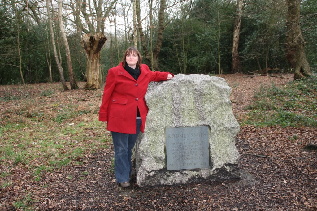 Me with Gypsy Smith's memorial stone in Epping Forest