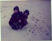 My brother and me sledging on Harrow Hill